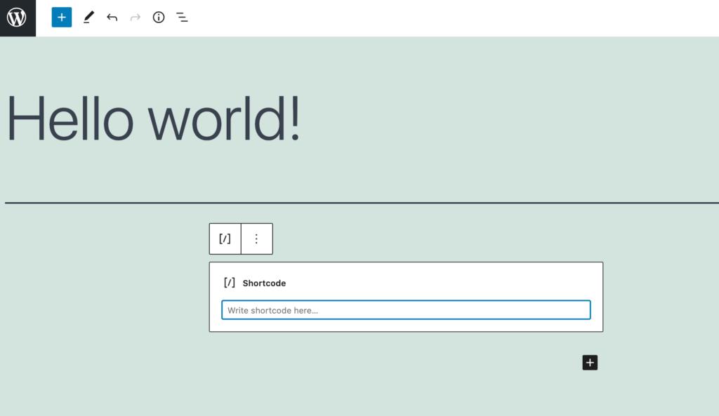 WordPress' shortcode block.