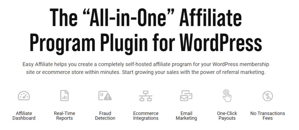Easy Affiliate WordPress plugin homepage